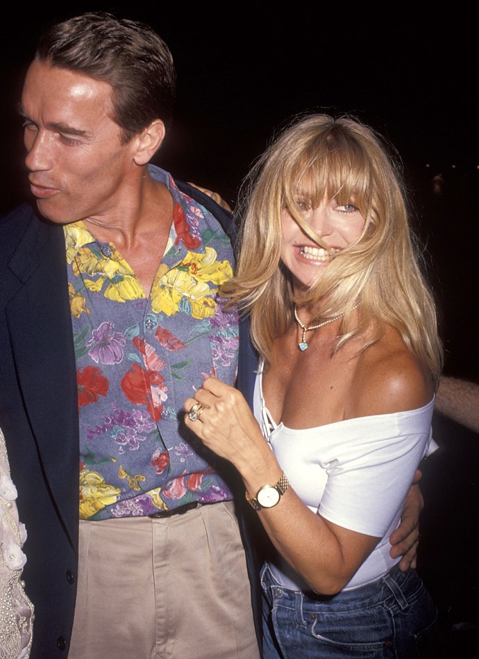 Arnold Schwarzenegger and Goldie Hawn in 1992.