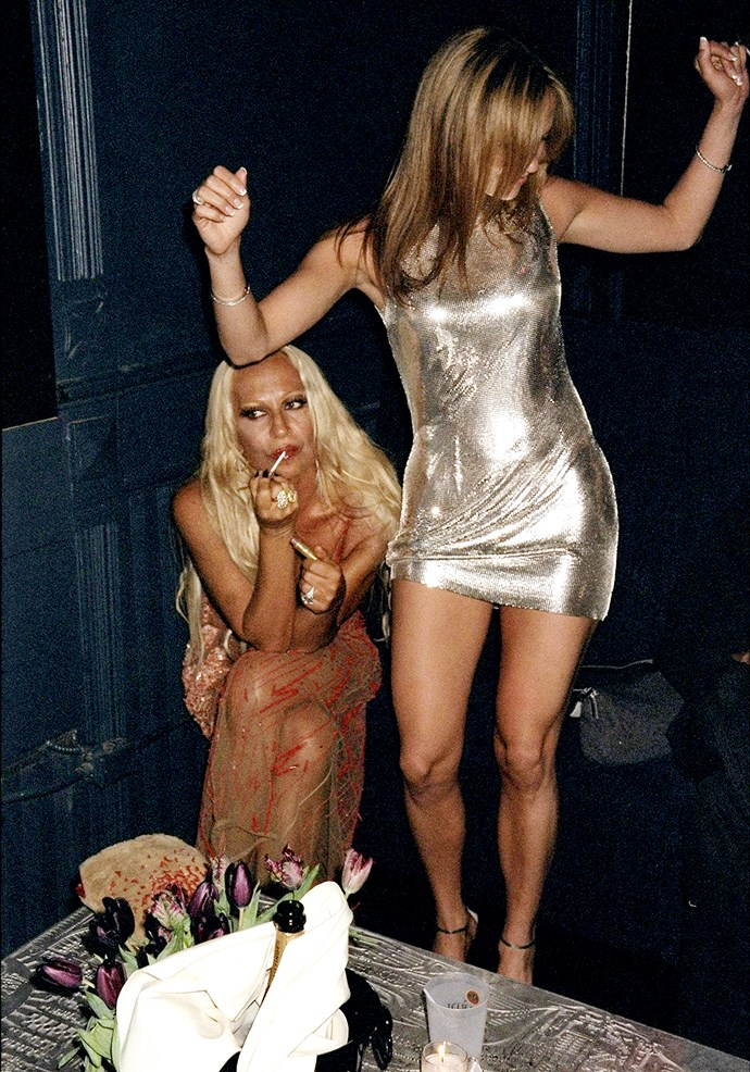 Donatella Versace and Jennifer Lopez in 1995.