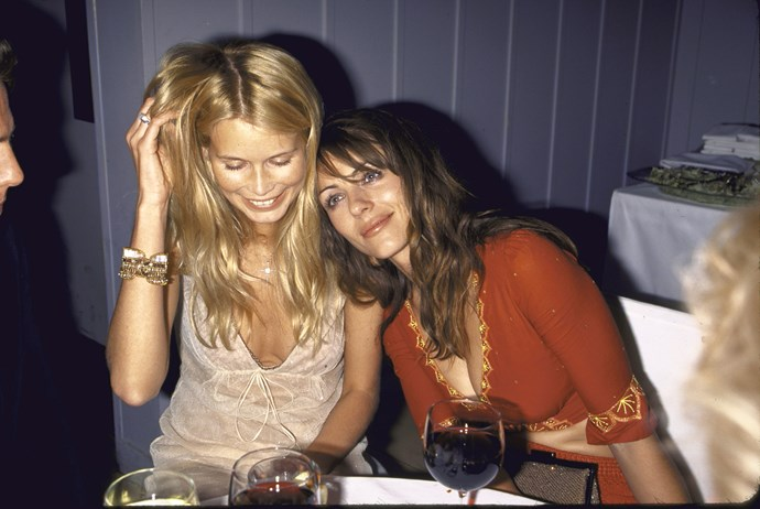 Claudia Schiffer and Liz Hurley in 2000.
