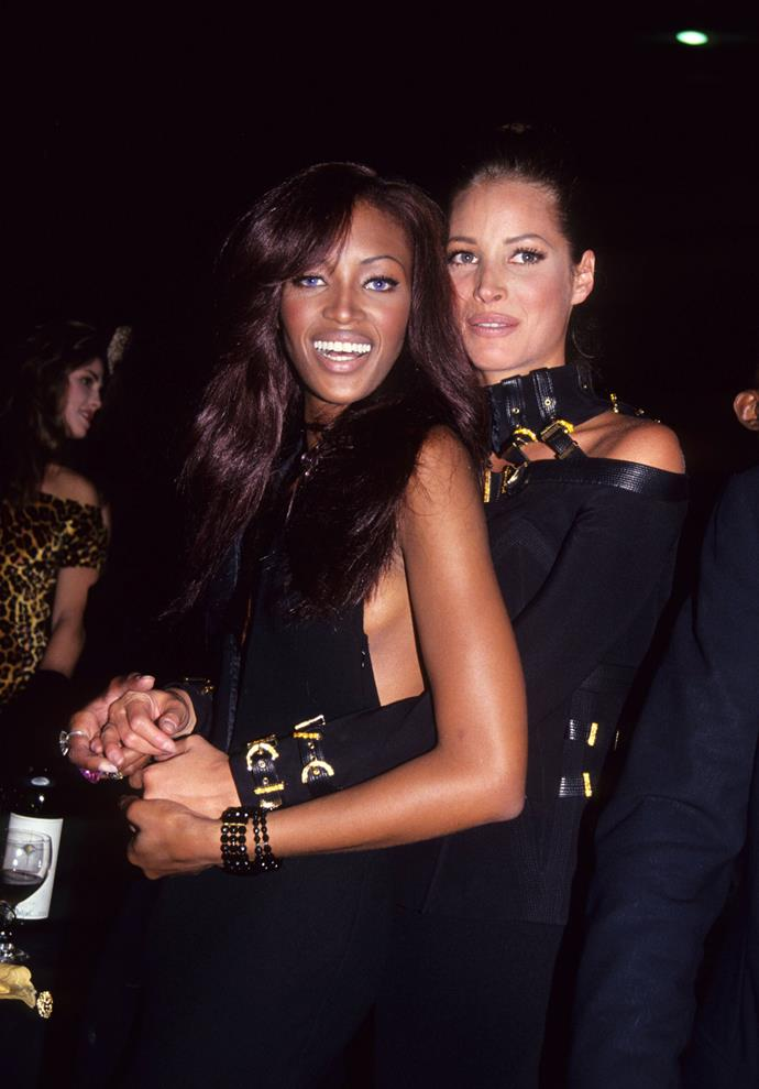 Naomi Campbell and Christy Turlington at the amFAR Gala in 1992.