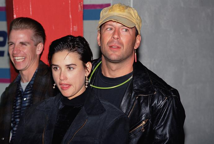 Demi Moore and Bruce Willis at Moore's 30th birthday party.