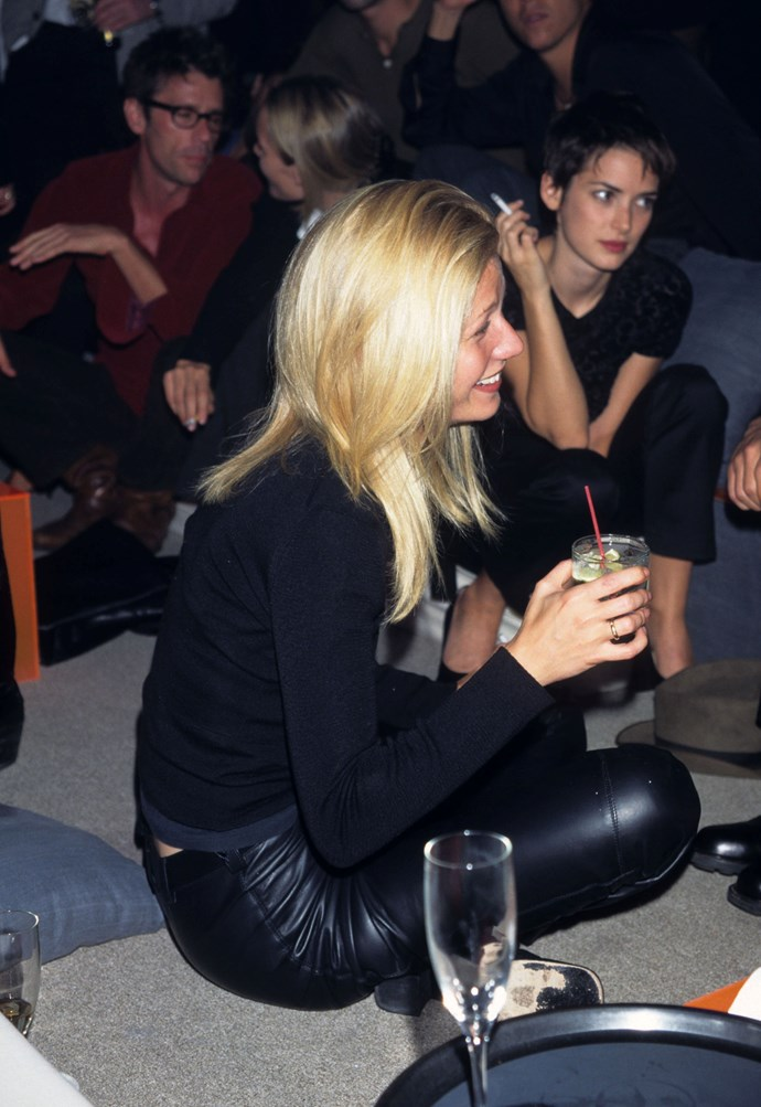 Gwyneth Paltrow and Winona Ryder at a Giorgio Armani party in 1996.
