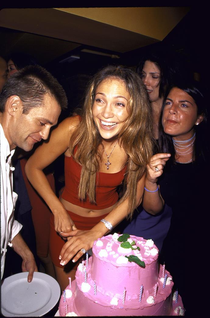 Jennifer Lopez at her 30th birthday in 1999.