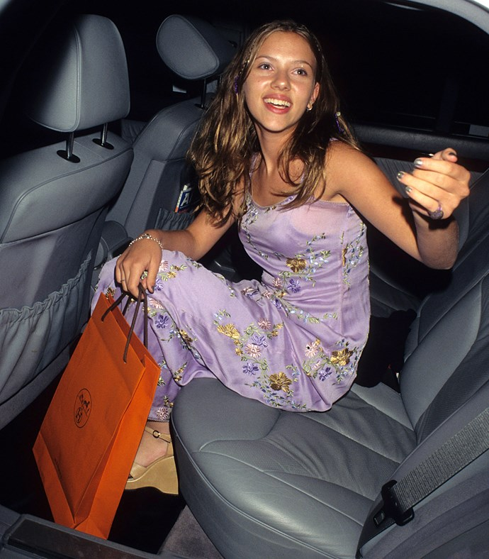 Scarlett Johansson leaving a party in 1998.