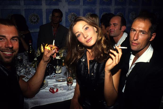 Thierry Mugler (left) and Carla Bruni in Paris in 1991.