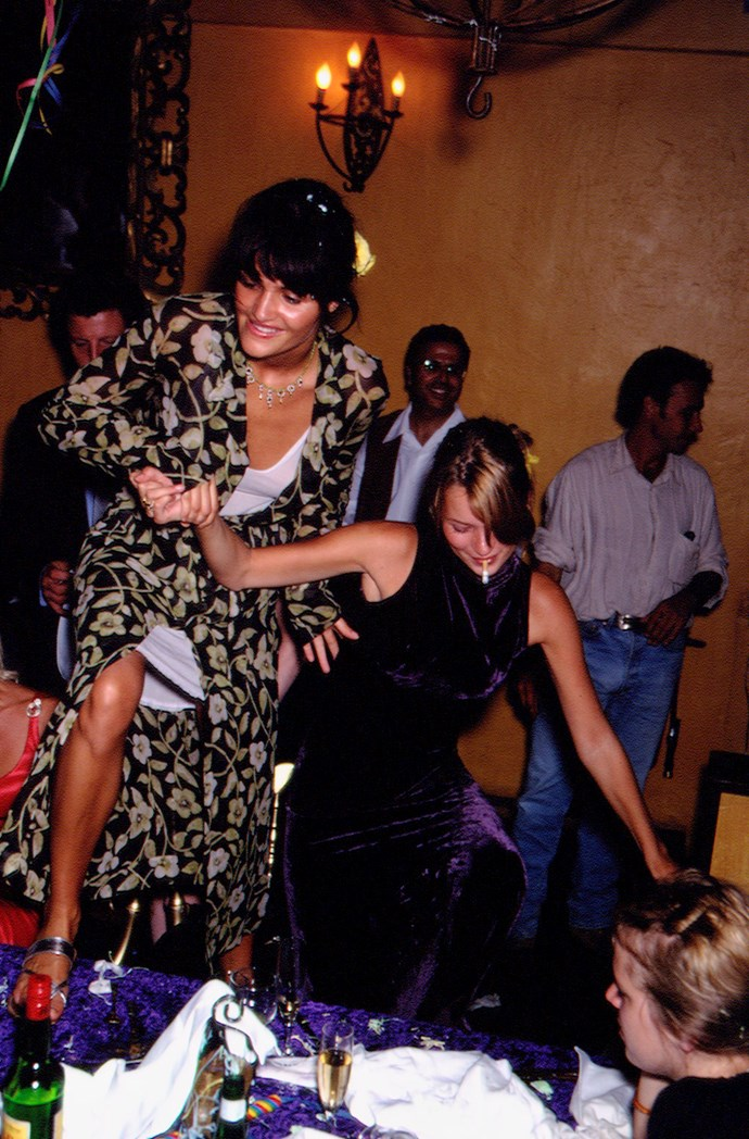 Helena Christensen and Kate Moss at Stephanie Seymour's hen's party in 1995.