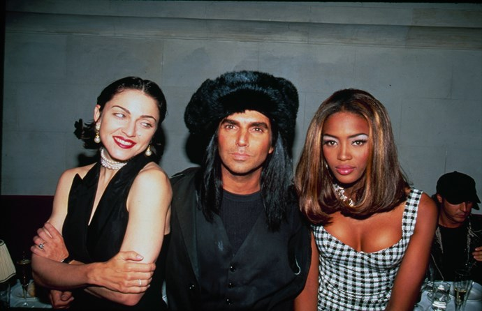 Naomi Campbell with Madonna and Steven Meisel at her 21st birthday party in 1991.