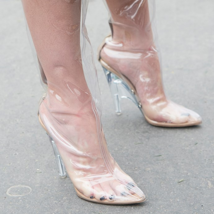 **Plastic shoes, bags and accessories** <br> The transparent garment trend started off as a novelty and brought a new definition to 'barely-there' style. Still, we're not sure how much longer we can deal with having steamy acrylic shoes, as well as noticing everyone on the street peering into our see-through totes.