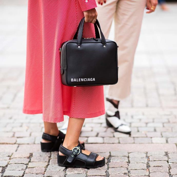 """*A chunky sandal*<br><bR> Dainty sandals will be taking a backseat to a chunkier variety in 2019 says Nichhia Wippell.<br><bR> """"I love the idea of pairing a chunky sandal with a super sleek outfit. Be it a silk slip, a pant suit or a short suit—a really great chunky shoe will elevate every outfit in your wardrobe."""""""