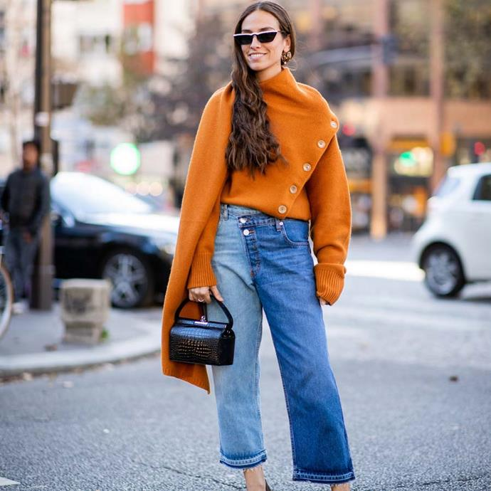 """*Two-toned denim*<br><br> Fashion coordinator Nichhia Wippell is an advocate of two-toned denim. Whether it's white-on-black, or a more subtle blue-on-blue variation, it's all about the contrast.<br><br> """"Two-toned denim paired with more denim is the chic twist that double denim needed in 2019."""""""