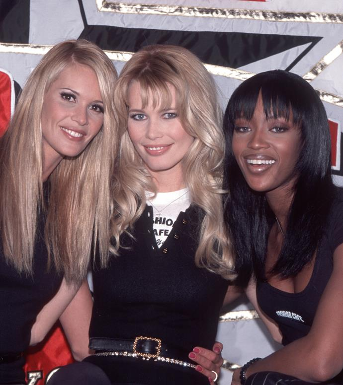Elle Macpherson, Claudia Schiffer and Naomi Campbell, 1995