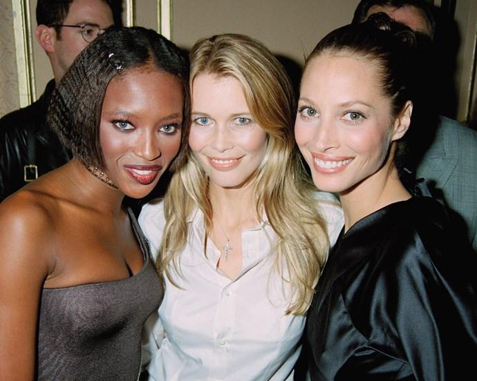 Naomi Campbell, Claudia Schiffer and Christy Turlington, 1996
