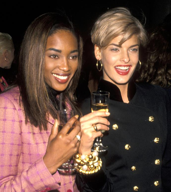Naomi Campbell and Linda Evangelista, 1990
