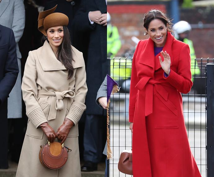 "***Sentaler Wide-Collar Wrap coat***<br><bR> After wearing the camel version of this Sentaler coat to her first-ever Christmas with the royals in 2017, Meghan showed off the cherry red [iteration](https://www.neimanmarcus.com/en-au/p/sentaler-baby-alpaca-long-wide-collar-wrap-coat-prod203110440|target=""_blank""