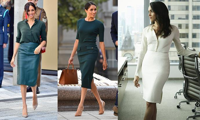 **Colour-blocked separates:** Throughout her run on the show, Rachel Zane's uniform was a fitted silk or cotton shirt with a tailored pencil skirt, typically in the same colour or similar. Meghan does the same, but is more experimental with her choice of shade, as seen with her teal takes (left, centre).