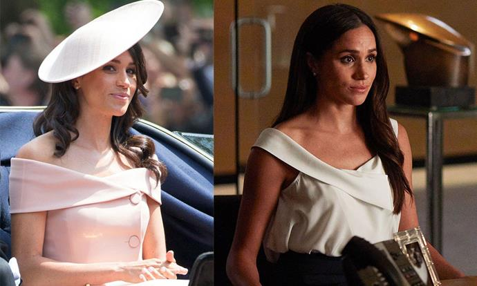 **Off-the-shoulder necklines:** While Meghan's Carolina Herrera take is a little dressier than Rachel's, this classic neckline is a favourite for both women.