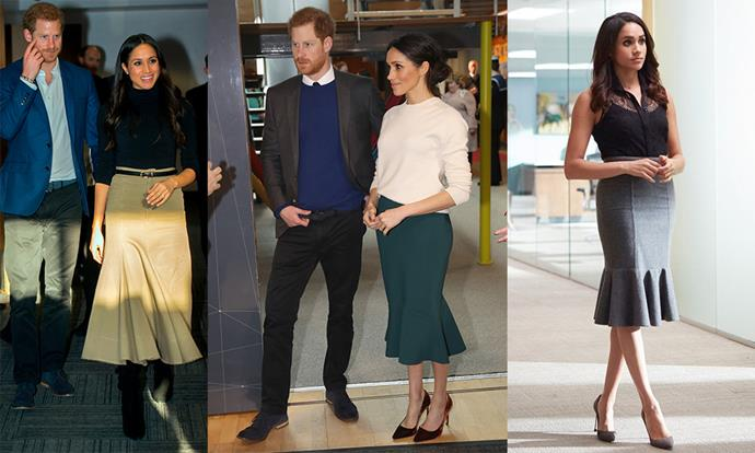 **The ruffle skirt:** Adding a bit of flair to the everyday is a go-to tactic for both women, with Meghan regularly returning to one of Rachel's most beloved silhouettes.