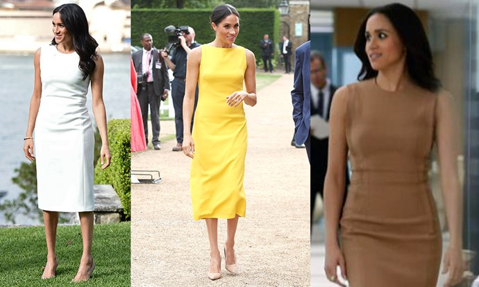 **The simple sheath dress:** Elegant and appropriate for almost every event, Meghan typically pairs this chic shape with a pointed pump. Rachel's tan version, by Alexander Wang, was a distinctly modern remix on the classic shape with its exposed darts.