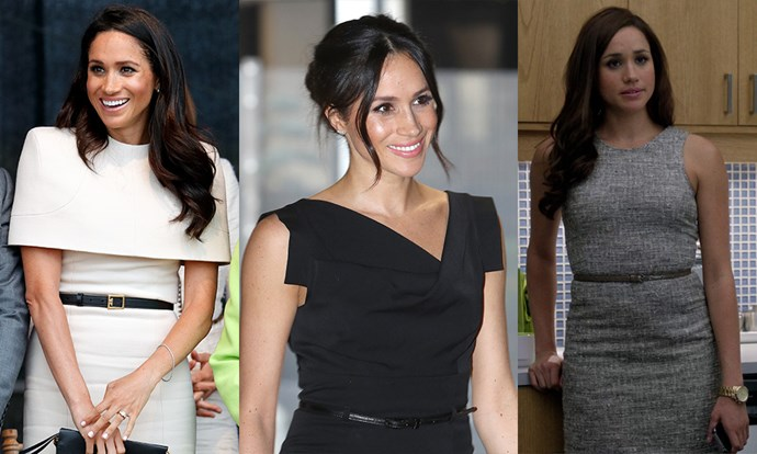 **The skinny belt:** A trusty staple in Rachel Zane's wardrobe, Meghan carried over this simple but effective accessory into her royal repertoire.