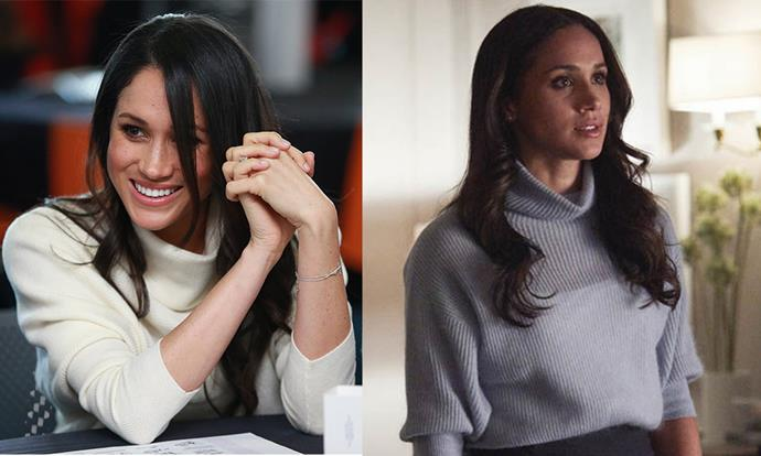 **Turtleneck jumpers:** Given she's swapped sunny Californian weather for wintry London, it makes sense for Meghan to adopt cosy turtleneck jumpers and heavier knits. Her cream iteration on the left is a near exact replica of Rachel's grey version.