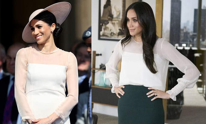**Illusion necklines:** Meghan's pale pink Goat Fashion dress for one of her first official duties as a married woman was iconic, but turns out the sheer yoke and creamy tones were borrowed from Rachel Zane's playbook.