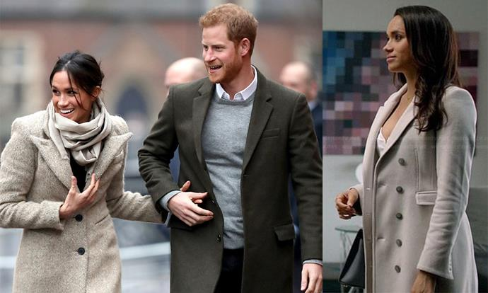 **The neutral coat:** Rachel Zane's cashmere Burberry coat was a coveted style when she wore it back on season four and Meghan's sandy Smythe version was similarly praised.