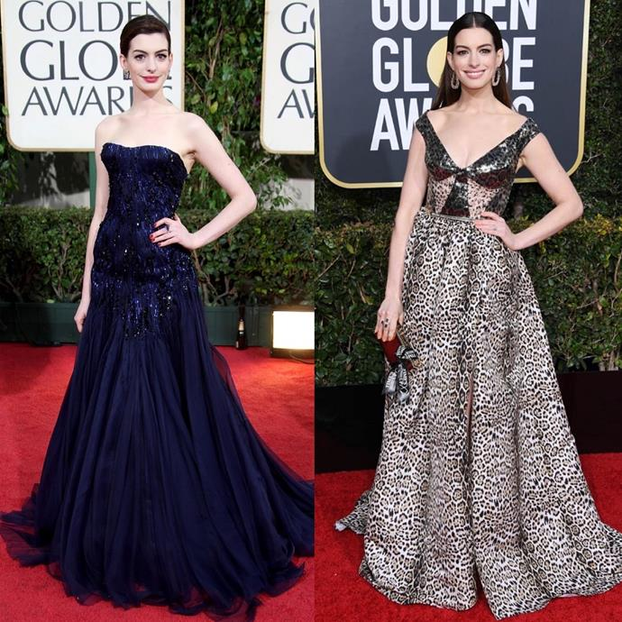 """***Anne Hathaway*** <br> """"Wow. Check out 2009 me trying so hard not to do anything wrong. Check out 2019 me doing what feels right. Wicked sweet. #10YearChallenge"""" <br><br> *Image: [@annehathaway](https://www.instagram.com/p/Bsqg37JH5zf/