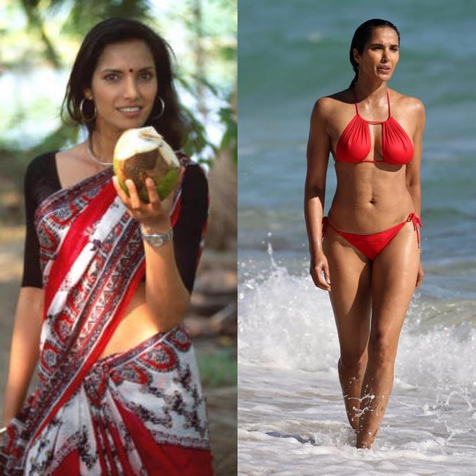 """***Padma Lakshmi*** <br> """"Me after a sip of coconut water, 1999/2019... not quite the #10yearchallenge. More like the #20yearchallenge!"""" <br><br> *Image: [@padmalakshmi](https://www.instagram.com/p/BsoogDXBtxr/