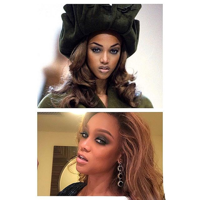 """***Tyra Banks*** <br> """"Ok, @janetjackson. I saw yours and got inspired. Me at 18 years old on a Paris runway AND me... today. #howharddidaginghityouchallenge"""" <br><br> *Image: [@tyrabanks](https://www.instagram.com/p/BsmHjnYntMi/