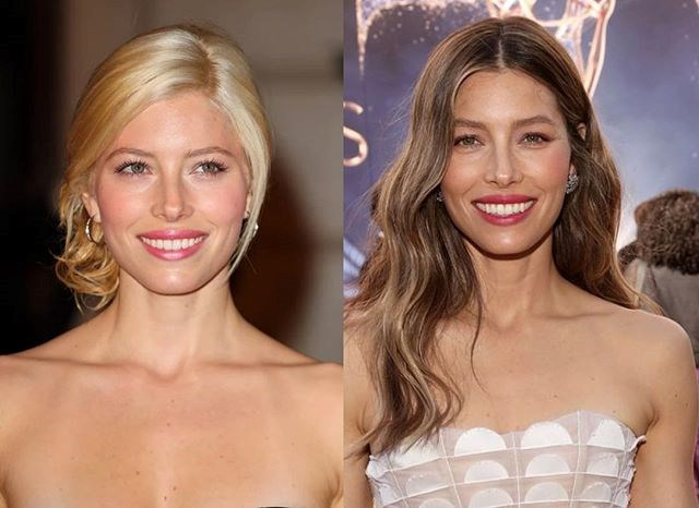 "***Jessica Biel*** <br> ""What a difference ten years can make! Although I do still have a lot of [love] for my tan lines, hoops and blonde days... #10YearChallenge"" <br><br> *Image: [@jessicabiel](https://www.instagram.com/p/BsmTSQXlLja/
