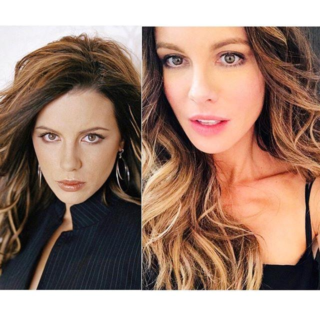 """***Kate Beckinsale*** <br> """"Ok ten year challenge. Major developments: 1) I am much happier now and 2) I no longer ask for """"the autumn palette"""" at cheap makeup counters. Also actually first pic is 2005 but I can't be arsed looking for a similar one from 2009 so whatever I'm over it"""" <br><br> *Image: [@katebeckinsale](https://www.instagram.com/p/Bso1nZnBN65/