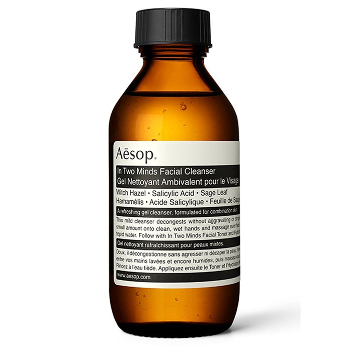 """Aesop In Two Minds Facial Cleanser, $35, from [Aesop.com.au](https://www.aesop.com/au/p/skin/cleanse/in-two-minds-facial-cleanser/