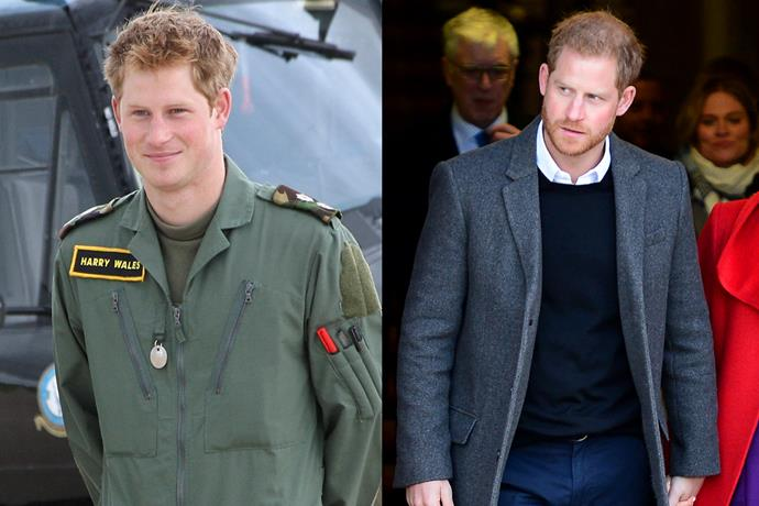 ***Prince Harry, Duke of Sussex*** <br><br> In 2009, Harry was a sprightly, clean-shaven 24-year-old who was midway through his military pilot training. He was also romatically linked to South African socialite Chelsea Davy, and wouldn't meet his future wife, Meghan Markle, for another seven years.