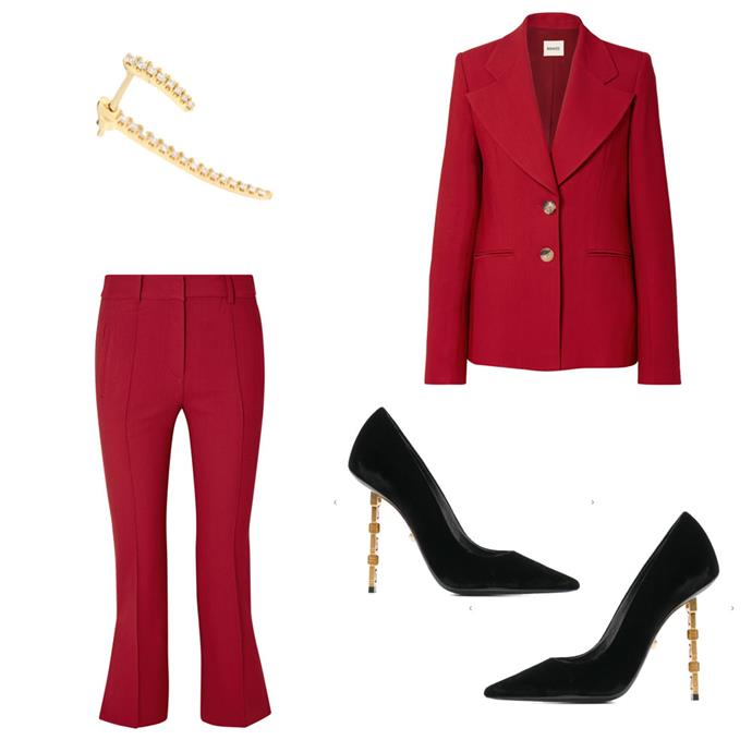 "*Suit up*<br><br> [Blazer](https://www.net-a-porter.com/au/en/product/1104417/khaite/alexis-twill-blazer|target=""_blank""|rel=""nofollow""), $1,830, and [trousers](https://www.net-a-porter.com/au/en/product/1104424/Khaite/marianne-cropped-twill-flared-pants|target=""_blank""|rel=""nofollow""), $831, both by Khaite at Net-a-Porter; earring by Maria Tash, $875 at [MyTheresa](https://www.mytheresa.com/en-au/maria-tash-long-talon-18kt-gold-and-diamond-single-earring-1141173.html?catref=category|target=""_blank""|rel=""nofollow""); pumps by Versace, $1,877 at [Farfetch](https://www.farfetch.com/au/shopping/women/versace-tribute-heeled-pumps-item-13426784.aspx?storeid=9984|target=""_blank""|rel=""nofollow"")"