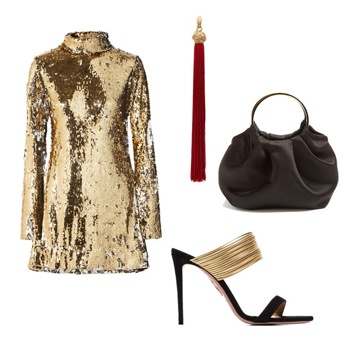 "*Golden girl*<br><br> Dress by Halpern, $2,185 at [Net-a-Porter](https://www.net-a-porter.com/au/en/product/1085722/halpern/sequined-tulle-turtleneck-mini-dress|target=""_blank""|rel=""nofollow""); Earring by Saint Laurent, $835 at [Farfetch](https://www.farfetch.com/au/shopping/women/saint-laurent-loulou-tassel-earrings-item-12547669.aspx?storeid=10952|target=""_blank""|rel=""nofollow""); Handbag by The Row, $1,572 at [MATCHESFASHION.COM](https://www.matchesfashion.com/au/products/The-Row-Double-Circle-mini-silk-satin-bag-1255552|target=""_blank""|rel=""nofollow""); Shoes by Aquazzura, $864 at [Farfetch](https://www.farfetch.com/au/shopping/women/aquazzura-rendezvous-105-sandals-item-13316780.aspx?storeid=9359|target=""_blank""|rel=""nofollow"")"