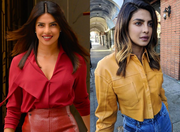 **Priyanka Chopra** <br><br> After maintaining her trademark deep brown locks for her now-iconic 2018 wedding to Nick Jonas, Chopra decided to change things up post-marriage with some golden blonde balayage.