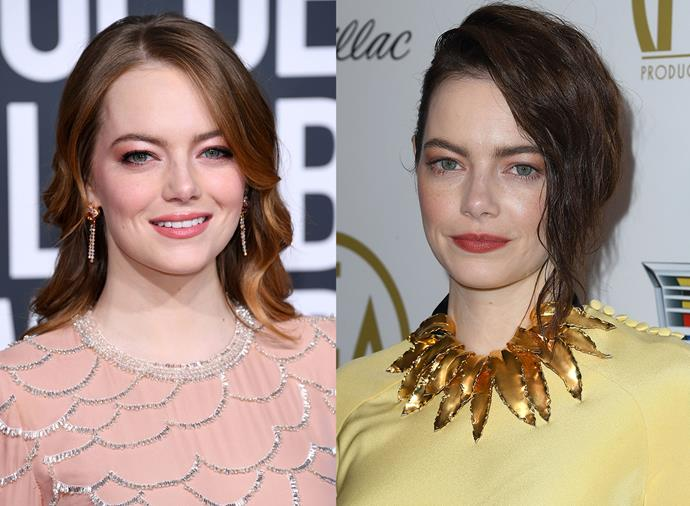 **Emma Stone** <br><br> Despite being a natural blonde, Stone has become known for her red hair. Regardless, she's unafraid to ditch her signature shade, and recently underwent a dark-brown dye job for the American winter.