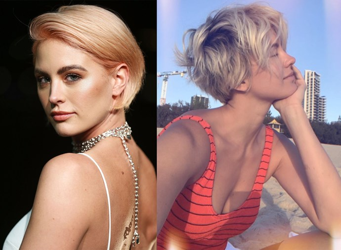 **Jesinta Franklin** <br><br> The model has been rocking ultra-short hair for a while now, but January 2018 saw her go all in by switching her micro-bob to a choppy, tousled pixie cut.