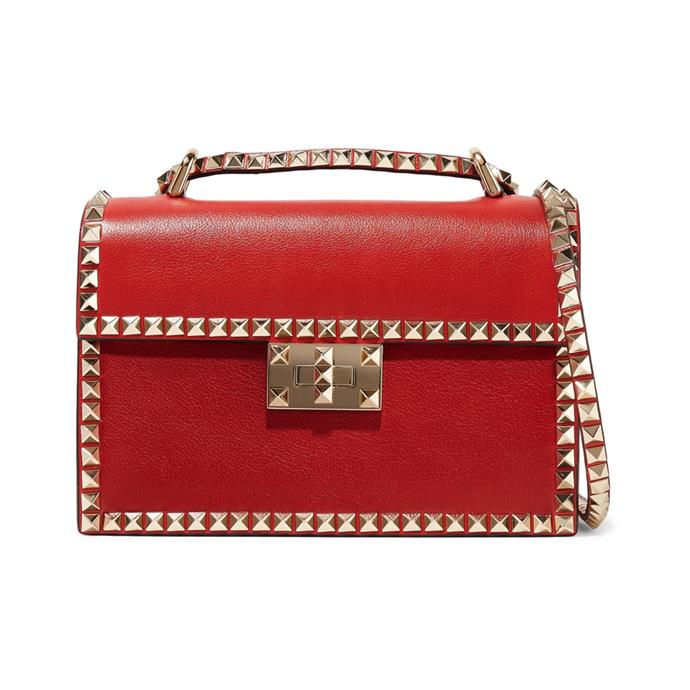 "Garavani The Rockstud No Limit bag by Valentino, $2,575 at [NET-A-PORTER](https://www.net-a-porter.com/us/en/product/1089891/valentino/valentino-garavani-the-rockstud-no-limit-textured-leather-shoulder-bag|target=""_blank""