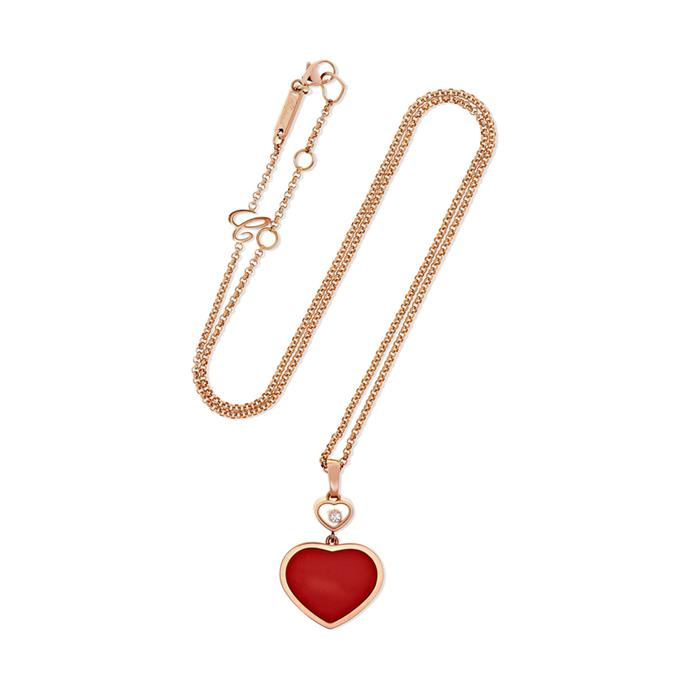 "Happy Hearts 18-karat necklace by Chopard, $2,510 at [NET-A-PORTER](https://www.net-a-porter.com/us/en/product/1106919/chopard/happy-hearts-18-karat-rose-gold--diamond-and-red-stone-necklace|target=""_blank""
