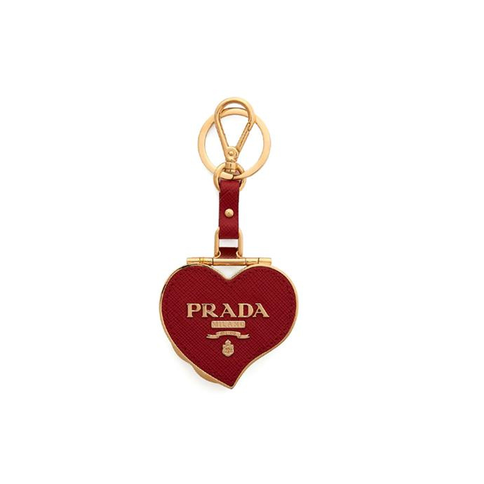 "Heart pill leather keyring by Prada, $500 at [MATCHESFASHION.COM](https://www.matchesfashion.com/au/products/Prada-Heart-Pill-saffiano-leather-key-ring-1189033|target=""_blank""