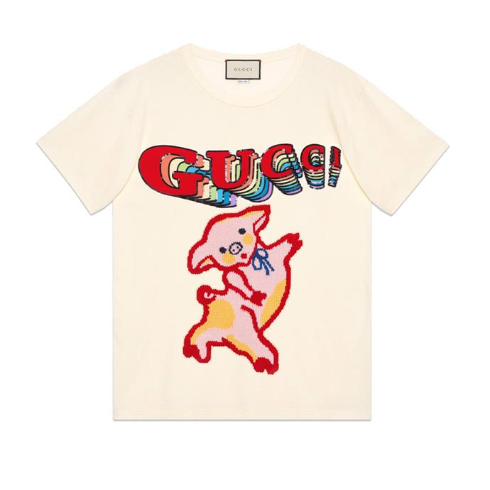 "Piglet t-shirt, $1,535 at [Gucci](https://www.gucci.com/us/en/pr/women/womens-ready-to-wear/womens-sweatshirts-t-shirts/womens-t-shirts/womens-oversize-cotton-t-shirt-with-piglet-p-492347XJARB7136|target=""_blank""