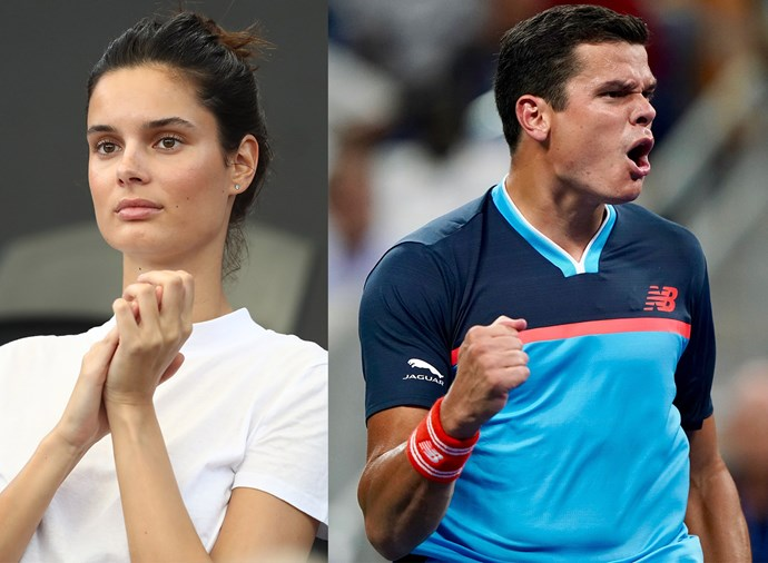 **Camille Ringoir, girlfriend of Milos Raonic** <br><br> Canadian heavyhitter Raonic, 28, is rising up the ranks and Belgian model Ringoir is there to watch. Raonic only recently split from ex-girlfriend Danielle Knudson, a Canadian model, but Ringoir has been in attendance at all his 2019 matches in Australia, suggesting they're already pretty serious.