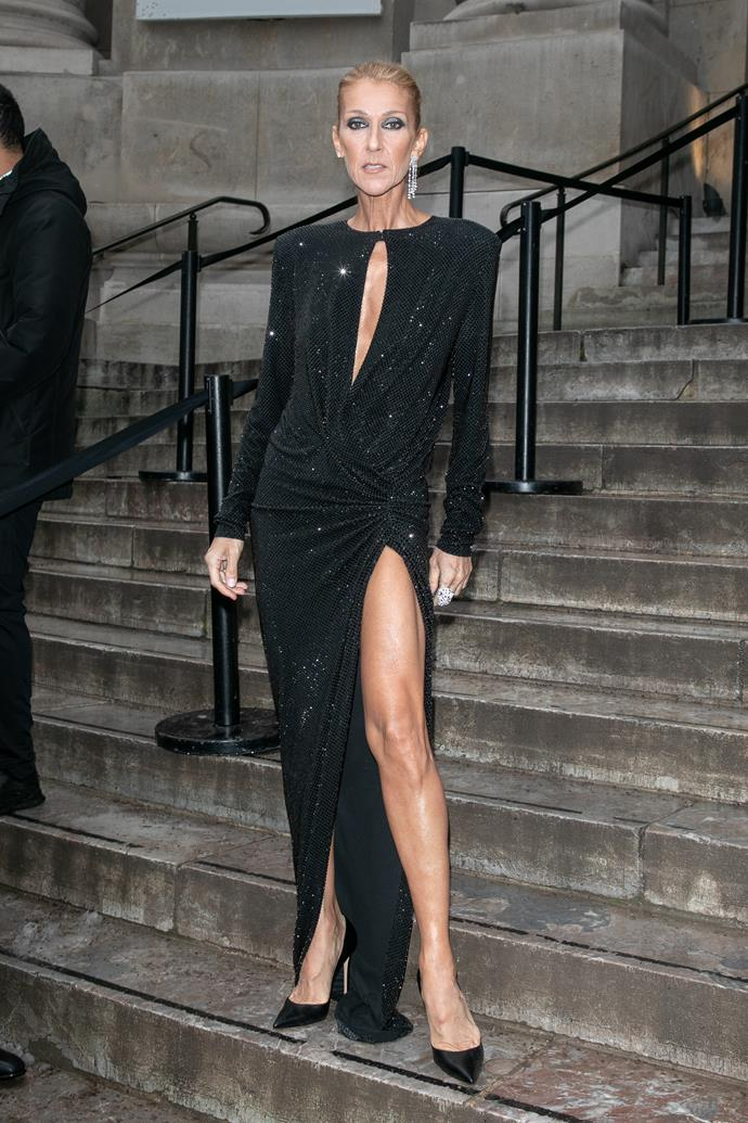 Attending the Alexandre Vauthier show at Haute Couture Fashion Week on January 22, 2019, Dion looked stunning in one of the designer's signature slinky black gowns.