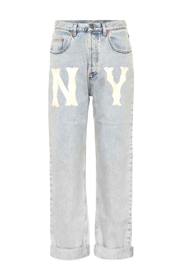 """*Acid Wash*<br><Br> Jeans by Gucci, $1,530 at [My Theresa](https://www.mytheresa.com/en-au/gucci-ny-yankees-straight-leg-jeans-1074654.html