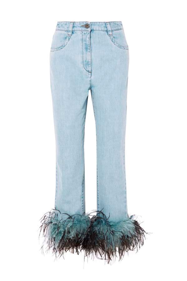 "*Embellished*<br><br> Feather-trimmed jeans by Prada, $1,236 at [NET-A-PORTER](https://www.net-a-porter.com/au/en/product/1000961 target=""_blank"" rel=""nofollow"")."
