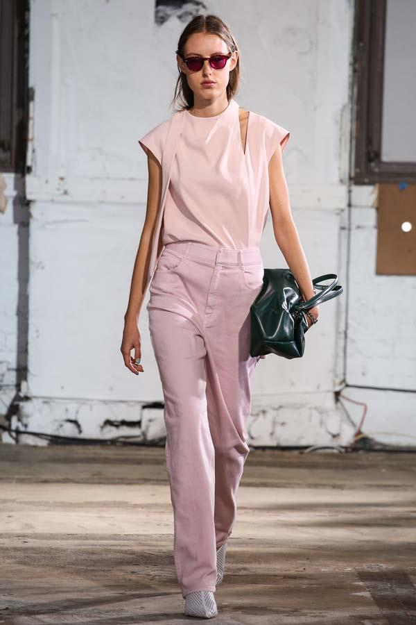*La Vie En Rose*<br><br> Those looking for a colour-update to their denim mainstays should look to light pink. Either in a dusky rose or a true pastel, pink proves both pretty and fresh.<br><br> As seen at: Tibi.