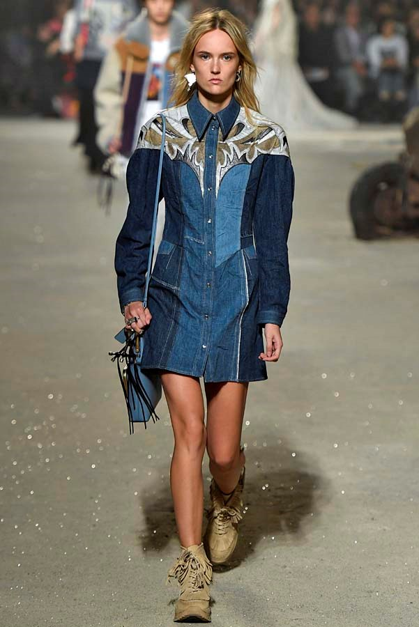 *Western*<br><br> Skip the spurs and go straight to Western-esque denim. Leather detailing, fringe or pocket snaps, give it a cowboy twist.<bR><br> As seen at: Coach.