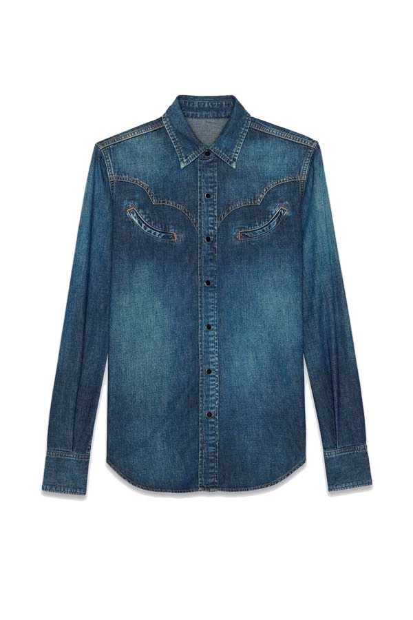 "*Western*<br><br> Shirt, $935 at [Saint Laurent](https://www.ysl.com/au/shop-product/women/ready-to-wear-western-shirts-western-shirt-in-faded-blue-denim_cod38748146pl.html target=""_blank"" rel=""nofollow"")."