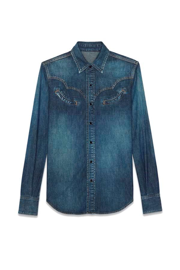 "*Western*<br><br> Shirt, $935 at [Saint Laurent](https://www.ysl.com/au/shop-product/women/ready-to-wear-western-shirts-western-shirt-in-faded-blue-denim_cod38748146pl.html|target=""_blank""|rel=""nofollow"")."